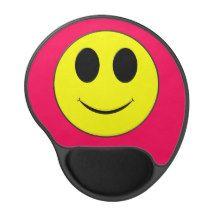 Big Yellow Smiley Face Hot Pink-Gel Mousepad Gel Mouse Pad #zazzle #smiley #happyface #mousepad #serenitygardens
