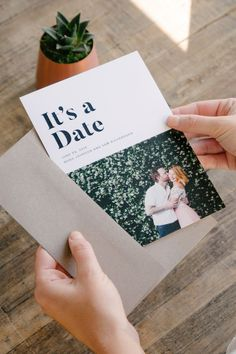 It's a Date | /artifactuprsng/'s collection of Save the Dates offers classic and modern designs that can be customized on both sides with your favorite photo and the details of your wedding day.