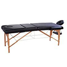 """Soozier 91"""" 3 Section 4"""" Pad Foldable Massage Table Spa Facial Couch Bed w/ Carry Case Black"""