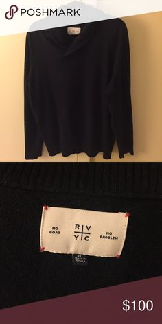 One of a kind, wool and cashmere sweater One of a kind, Men wool and cashmere shawl sweater. Dark navy blue. Size XL.  RVYC: Royal Vancouver Yacht Club.  Purchased on Truck Club. Bloomingdale's Sweaters