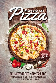Buy Pizza Flyer by tarommir on GraphicRiver. Pizza Flyer Features Easy editable text Organised layers and grouped Print size: inch Bleed area: inches Pizza Menu Design, Food Graphic Design, Food Menu Design, Food Poster Design, Flyer Design, Pizza Restaurant, Restaurant Flyer, Restaurant Menu Design, Pizza Flyer