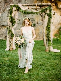 An enchanted forest bridal shoot in a pink marble quarry turned wedding venue in Knoxville, TN with a blush wedding dress and rustic copper decor! Vintage Fairytale Wedding, Enchanted Forest Wedding, Enchanted Evening, Bridesmaid Dresses Floral Print, Wedding Dresses, Woodland Wedding Inspiration, Bridal Shoot, Wedding Shoot, Wedding Ceremony