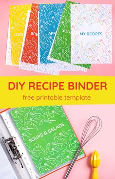 Organize all your family recipes with this recipe book printable! This free cookbook binder printable includes a front cover, 8 section dividers, and recipe pages in 4 different colors. Cookbook Cover Design, Recipe Book Design, Recipe Page Printable, Recipe Printables, Free Printables, Family Recipe Book, Family Recipes, Recipe Books, Recipe Book Covers