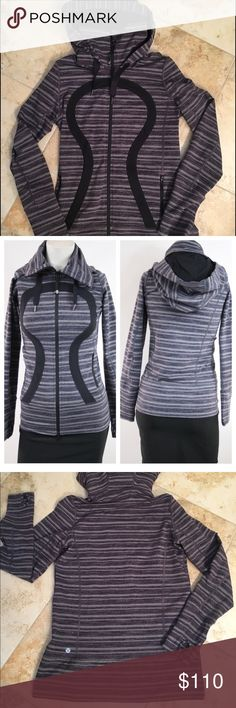 EUC Lululemon In Stride Jacket Perfect condition In Stride Jacket... color not available anymore. Black/grey stripes. Great hooded jacket with high neck and long enough to cover your bum! Price firm, comes with Lululemon bag lululemon athletica Tops Sweatshirts & Hoodies