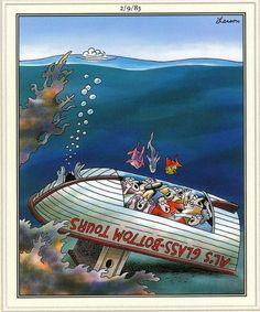 """The Far Side"" by Gary Larson. Boat Cartoon, Cartoon Jokes, Funny Cartoons, Funny Comics, Far Side Cartoons, Far Side Comics, Haha Funny, Funny Jokes, Hilarious"
