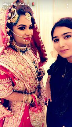 Muslim Brides, Muslim Girls, Bridal Hairstyle, Hairstyle Ideas, Indian Dresses, Indian Outfits, Khada Dupatta, Bridal Makeover, Asian Bride
