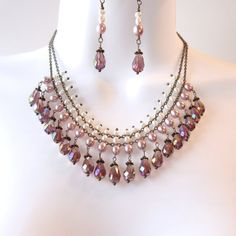 Purple Crystal Pearl Bib Necklace Set - Plum Teardrop Crystals - Freshwater Pearls - Wedding Necklace - Bronze Tone