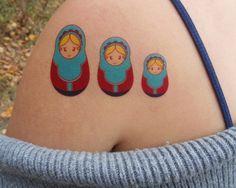 Russian Nesting Dolls Temporary Tattoo ~ Arm Wrist Back Leg Shoulder Ankle Cute Color Babushka Russia Doll Cartoon Matryoshka by FriendsClub on Etsy https://www.etsy.com/listing/210342576/russian-nesting-dolls-temporary-tattoo