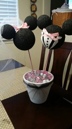 Mickey and Minnie Wedding Centerpiece wedding shower Disney Wedding Shower, Disney Bridal Showers, Our Wedding, Dream Wedding, Wedding Ideas, 1920s Wedding, Wedding Beach, Wedding White, Wedding Stuff