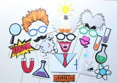 22 pc Mad Scientist Photo Booth Props/Scientist Photobooth Props/ Science Phtoboth by ThePartyGirlStudio on Etsy