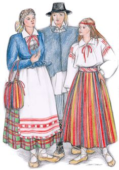 Räpina kihelkond, drawn by Anu Mõtshärg Folk Costume, Costumes, The Places Youll Go, Finland, Disney Characters, Fictional Characters, Germany, Traditional, Disney Princess