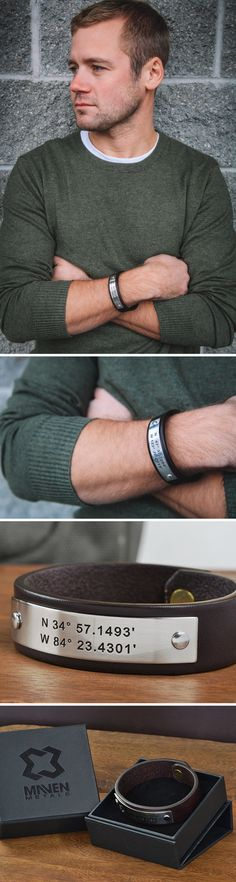 """Personalized Leather Bracelet - Gifts for Him - Coordinates - GPS Coordinates Bracelets are a unique way to represent a special location; the spot you said, """"I do"""", the birthplace of a child, or even a favorite vacation destination."""