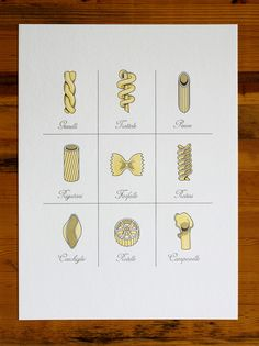 PASTA Print from Fickle Hill Letterpress