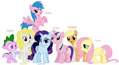 I took stock art of the Mane Six from and photoshopped the colors to make it look like the ponies! Original art goes to Lauren Faust. My Little Pony - Mane Six + Spike My Little Pony Quiz, My Little Pony List, My Little Pony Pictures, My Little Pony Friendship, Twilight Equestria Girl, Equestria Girls, Manado, Mlp Rarity, Imagenes My Little Pony