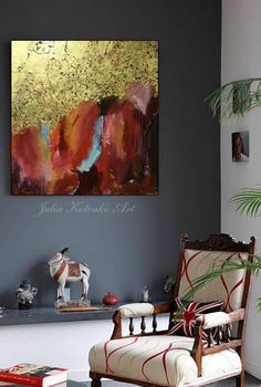 Abstract Acrylic Painting Gold Leaf Wall Art Modern Art Original Painting This is an original professional painting right from my favorite studio. Signature front and back. If you want what I have created for you picture of another size, just write me Your painting will be create