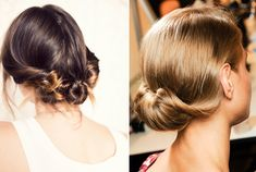 I love the one on the left. Add a veil. Beautiful.  Low chignon
