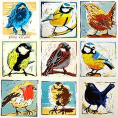 Art To Take - birds - linocut by Ellen van Putten