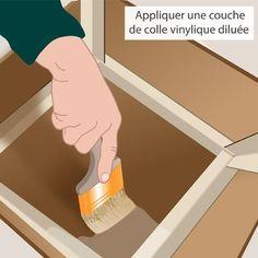 Apprêtez le carton pour la finition avec de la colle vinylique diluée tout simplement