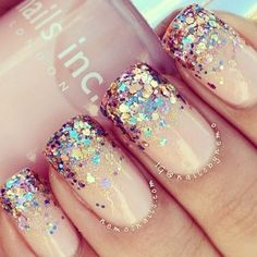 Nails , glittery nails
