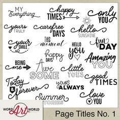 Page Titles No. 1 Word Art Pack created by Word Art World Scrapbook Quotes, Scrapbook Titles, Digital Scrapbooking Layouts, The Words, Bujo, Digital Word, Word Art Design, Uplifting Quotes, Healing Quotes