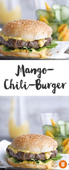 Mango-Chili-Burger - My Cooking Ideas 2020 Barbecue Recipes, Chili Recipes, Vegetarian Recipes, Vegetarian Barbecue, Hamburger Recipes, Vegetarian Cooking, Drink Recipes, Healthy Recipes, Chili Burgers Recipe