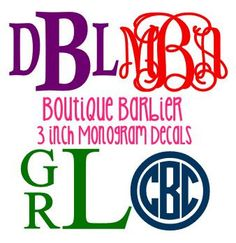 This listing is for one solid, chevron, or glitter monogram vinyl decal. These are great on binders, folders, computers, cars, anything!!    The