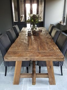 Slab Table, Walnut Dining Table, Dining Room Table, Farmhouse Table Chairs, Rustic Table, Dining Room Design, Interior Design Living Room, Barn Kitchen, New Home Designs