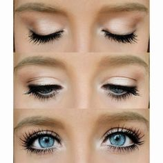 Make your blue eyes pop with this natural eye. A little eye shadow, mascara, and eyeliner can go a long way. Visit Beauty.com for more products to show off your natural beauty.