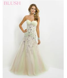 Blush 2014 Prom Dresses - Crystal Pink & Lime Jeweled Netted Strapless Mermaid Prom Dress - Unique Vintage - Prom dresses, retro dresses, retro swimsuits.