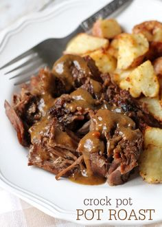 Our favorite Pot Roast recipe - 2 minute prep time and just stick in the crock pot! { lilluna.com }