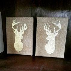 Rustic Chic gold glitter deer head silhouette on 8 x 10 burlap canvas by RusticChicbyCC #deerheadsilhouette #rusticchic