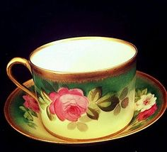 limoges haviland hand painted artist signed roses tea cup and saucer Teapots And Cups, Teacups, Sipping Tea, Turkish Coffee Cups, Antique Tea Cups, Tea Accessories, China Patterns, Tea Bowls, Tea Cup Saucer