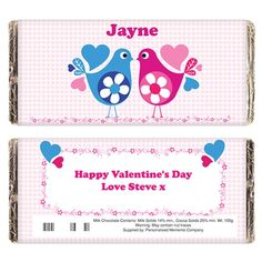 Personalised Love Heart Birds Chocolate Bar  from Personalised Gifts Shop - ONLY £5.99