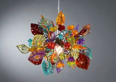 Ceiling lamp. Rainbow colors of flowers and di Flowersinlight, $139.00