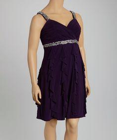 Look at this #zulilyfind! Eggplant Sequin Ruffle Surplice Dress - Plus by Scarlett #zulilyfinds