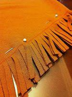 diy Native American Costume - adding fringe and trim