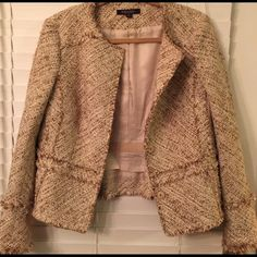 Brooks Brothers jacket Gorgeous  high-fashion tweed blazer  in beige tones, with gold Lurex  in fabric. Completes any outfit. !! Brooks Brothers Jackets & Coats Blazers