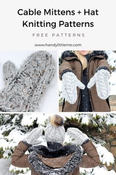 Make a pair of squishy, warm cable knit mittens with this free knitting pattern. The mittens pattern is perfect for anyone new to cable knitting. Knit Slouchy Hat Pattern, Knitted Mittens Pattern, Knitted Hats Kids, Cable Knit Hat, Knit Mittens, Cable Knitting, Free Knitting, Winter Knitting Patterns, Quick Knits