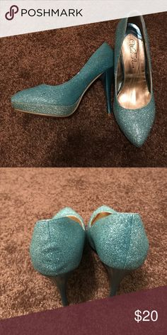 Sparkly Blue Heels! Super glam light blue sparkle/glitter heels! Only worn once and in great condition. Glitter does not fall off the shoe so no need to worry about a mess and leaving a trail behind in these! Perfect for formal events and dances! Shoes Heels