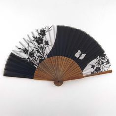 Japanese Silk Handheld Fan, Black with White Bunnies