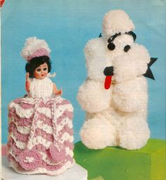 Toilet roll cover knitting patterns. My Aunt Carrie used to crochet these. Such memories...