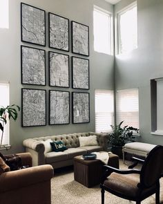 Map Wall Not sure what to do with a large living room wall in a room with high ceilings? We blew up a map of our area and framed it in nine panels using poster sized frames we found at IKEA. A relatively inexpensive way to design a large space. Living Room Art, Formal Living Rooms, Living Room Interior, Living Room Designs, Living Room Decor High Ceilings, High Ceiling Living Room Modern, Tall Wall Decor, Room Wall Decor, High Ceiling Decorating