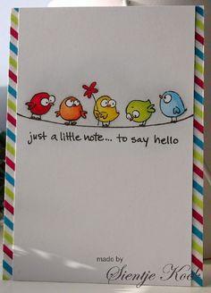 Daar zijn ze weer, de vogeltjes van Scrapberry's. Gezellig samen op de waslijn. Lekker simpel gehouden met een randje van washi...