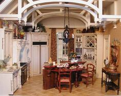 {Love the ceiling detail}  Fabulous doll house kitchen