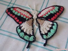 Butterfly Motif - Free Crochet Diagram - (stranamam) I like the color combo. Thread Crochet, Love Crochet, Irish Crochet, Crochet Dolls, Crochet Diagram, Crochet Motif, Crochet Designs, Crochet Appliques, Crochet Flowers