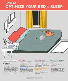 How To Optimize Your Bed For Sleep Infographic Cant Sleep, Good Night Sleep, Migraine, Relax, Sport Fitness, Sleep Tight, Home Bedroom, Master Bedroom, Get Healthy