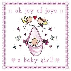 Juicy Lucy Designs Greeting Card - Baby Girl - Stationery Heaven - http://www.stationeryheaven.nl/postcards/ansichtkaarten/juicylucydesigns