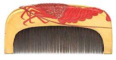 Kushi - Japanese Crayfish Hair Comb. Painted and Lacquered Wood. Late Edo Period.