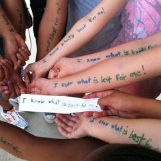 "Girls On The Run- stand up to peer pressure ""I KNOW WHAT'S BEST FOR ME!"""