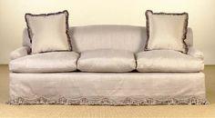 Deeda Blair's gorgeous taupe silk sofa by Billy Baldwin...tight back and 3 cushions